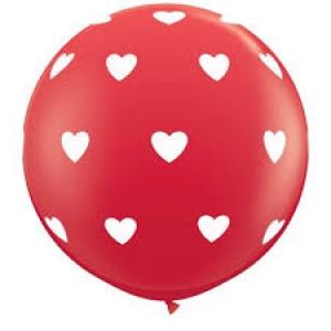 "36"" (3') Big Heart - Red w/White Ink (2ct) , *QL36RI31089"