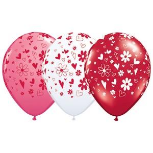 """11"""" Hearts & Daisies-A-Round - Love Assortment (50ct) , *QL11RI37123"""