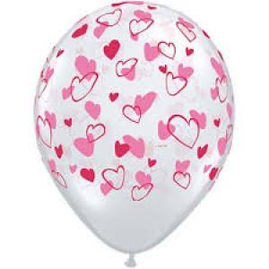 """11"""" Red & Pink Hearts - Diamond Clear (50ct) , *QL11RI38433"""