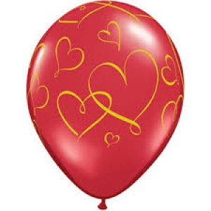 """11"""" Romantic Hearts (TW) - Ruby Red w/ Gold Ink (50ct) , QL11RI40207 (0)"""
