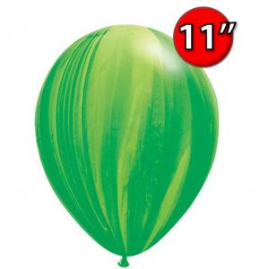 """11"""" SuperAgate (40 Bags/ Case) - Green Rainbow, **QL11RAG91539"""