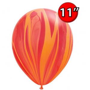 """11"""" SuperAgate (40 Bags/ Case) - Red Orange Rainbow , **QL11RAG91540"""