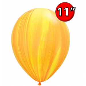 """11"""" SuperAgate (40 Bags/ Case) - Yellow Orange Rainbow , **QL11RAG91541"""