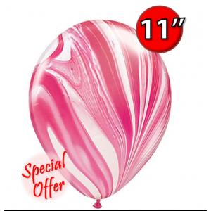 "11"" SuperAgate (25 ct.) - Red & White , QL11RAG39920"