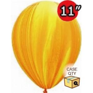 "11"" SuperAgate (40 Bags/ Case) - Yellow Orange Rainbow , QL11RAGC91541"