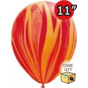 """11"""" SuperAgate (40 Bags/ Case) - Red Orange Rainbow , QL11RAGC91540"""