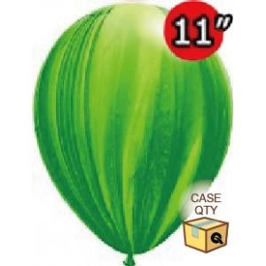 "11"" SuperAgate (40 Bags/ Case) - Green Rainbow, QL11RAGC91539"