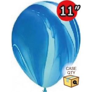"""11"""" SuperAgate (40 Bags/ Case) - Blue Rainbow , QL11RAGC91538"""