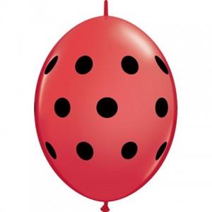 """6"""" QL-Big Polka Dots - Red w/ Black Ink (50ct) , *QL06LI32025"""
