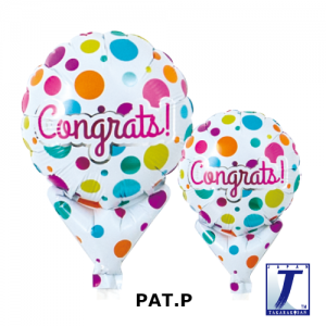 """Upright Balloon 5""""/ Printed_Congrats Dots On White (Non-Pkgd.), TK-UPB-I810509 <10 個/包>"""