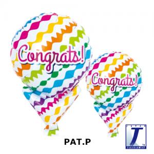 "Upright Balloon 5""/ Printed_Congrats Waves (Non-Pkgd.), TK-UPB-I810510 <10 個/包>"