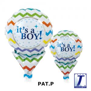 "Upright Balloon 5""/ Printed_It's A Boy Chevron (Non-Pkgd.), TK-UPB-I810512 <10 個/包>"