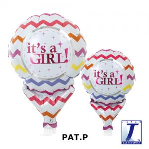 "Upright Balloon 5""/ Printed_It's A Girl Chevron (Non-Pkgd.), TK-UPB-I810513 <10 個/包>"