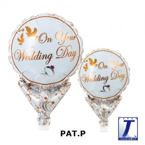 "Upright Balloon 5""/ Printed_Wedding Doves & Rings (Non-Pkgd.), TK-UPB-I810516 <10 個/包>"