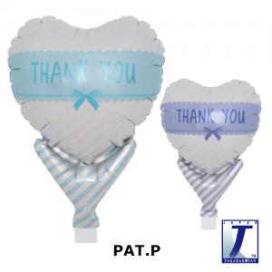 "Upright Balloon 5""/ Printed_Thank You Ribbon L.blue & Blush Purple (Non-Pkgd.), TK-UPB-I810603 <10 個/包>"
