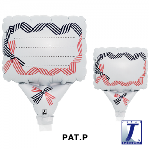 """Upright Balloon 5""""/ Printed_Message Card Ribbon Navy Blue & Red (Non-Pkgd.), TK-UPB-I810701 <10 個/包>"""